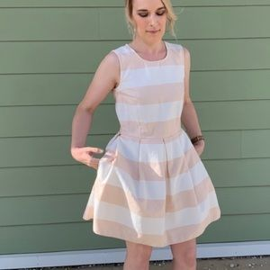 Gap blush and white striped fit and flare dress
